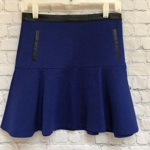 Club Monaco Sapphire Blue Skirt Leather Trim